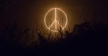 Peace sign logo neon signage